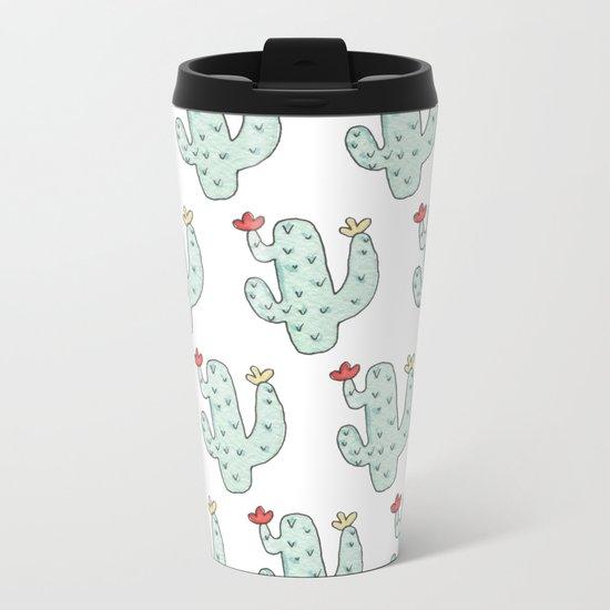 Cactus party print Metal Travel Mug