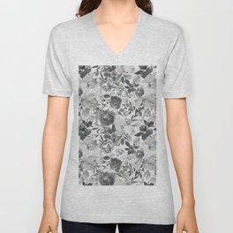 Black gray white hand painted floral stripes pattern Unisex V-Neck