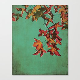Vintage Shabby Autumn in New York Watercolor Canvas Print