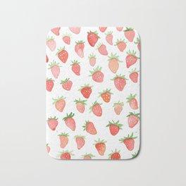 Watercolor Strawberries Bath Mat