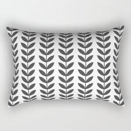 Dark Grey Scandinavian leaves pattern Rectangular Pillow