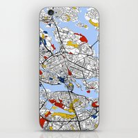 stockholm iPhone & iPod Skins featuring Stockholm by Mondrian Maps