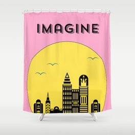 The Imaginary City (pink) Shower Curtain
