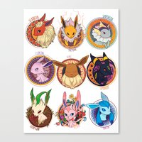 eevee Canvas Prints featuring Eevee by 1234