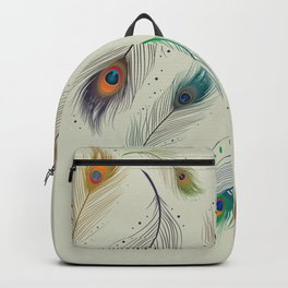 Colorful Realistic Peacock Feather Pattern Backpack