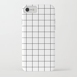 Grid Simple Line White Minimalist iPhone Case