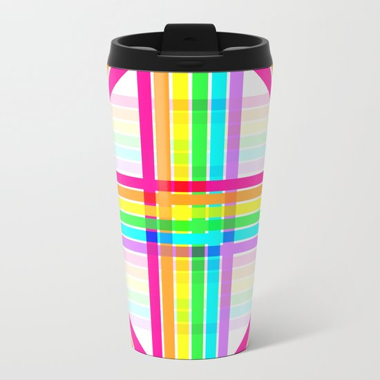 Weaved Rainbow Metal Travel Mug