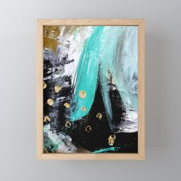 Fairy Dreams: an abstract mixed media piece in black, white, teal, and gold Framed Mini Art Print