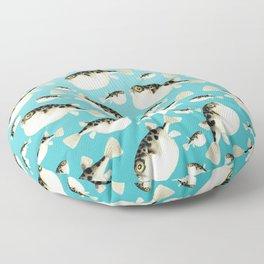 Puffer Fish watercolor Pattern Teal Floor Pillow