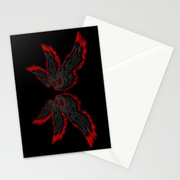 Black Red Archangel Wings Stationery Cards
