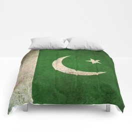 Old and Worn Distressed Vintage Flag of Pakistan Comforters
