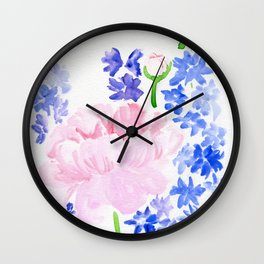 Peonies and Delphiniums Wall Clock