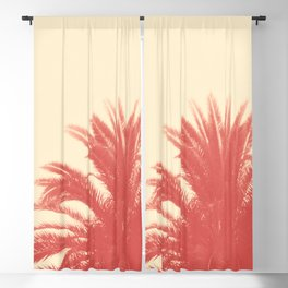 Palm Top Vintage Red Blackout Curtain