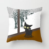 snow Throw Pillows featuring Snow by BATKEI