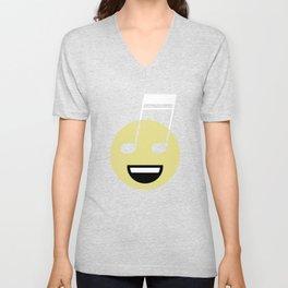 Musical smiley Unisex V-Neck