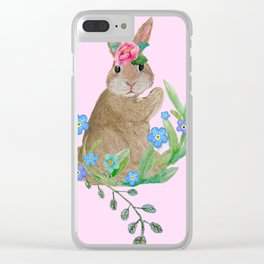 Easter rabbit with spring flowers on pink Clear iPhone Case
