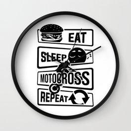 Eat Sleep Motocross Repeat - Motorcycle Motorsport Wall Clock