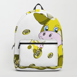 lucky yellow bubble cow with gold coins Backpack