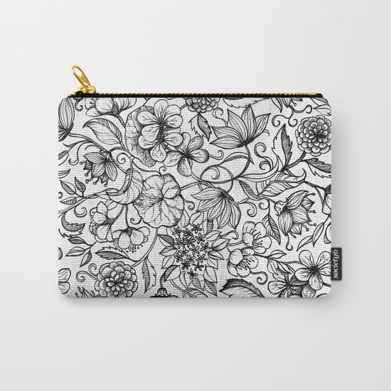 Hand drawn pencil floral pattern in black and white Carry-All Pouch