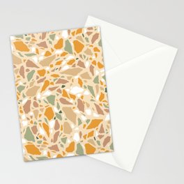 Terrazzo pattern in ochre and green Stationery Cards