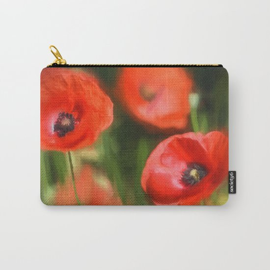 Warmth- Floral Flower Poppies in love- Poppy flowers #Society6 Carry-All Pouch