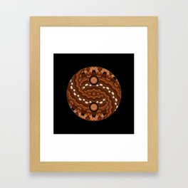 Brown Yin a Yang mandala Framed Art Print