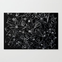White ink, black card board. Graphic art, ink spring flowers Canvas Print