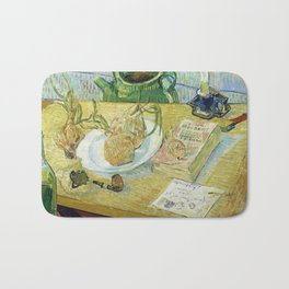 Vincent Van Gogh - Still Life - Drawing Board, Pipe, Onions and Sealing Wax Bath Mat