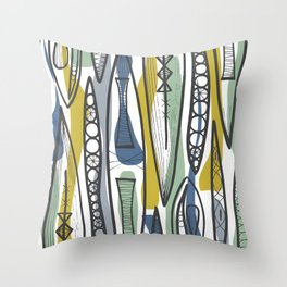 Mid-Century Shapes Throw Pillow