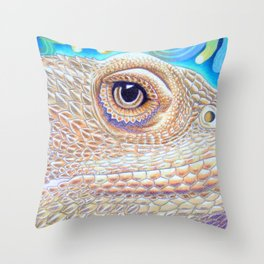 Dragon Star, Bearded Dragon Lizard Art Throw Pillow
