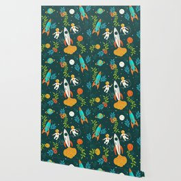 Race to the Moon with Flower Power Wallpaper