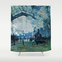 Claude Monet - Arrival Of The Normandy Train, Gare Saint Lazare Shower Curtain