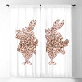 Sparkling rose gold Mr Rabbit Blackout Curtain