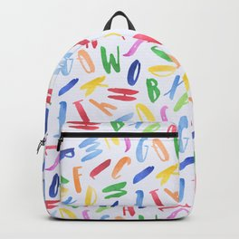 Watercolor Alphabet Pattern Backpack