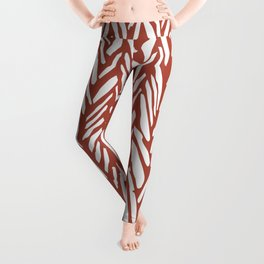 Boho mudcloth herringbone stripe pattern - clay Leggings