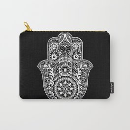 Black and White Hamsa Hand Carry-All Pouch