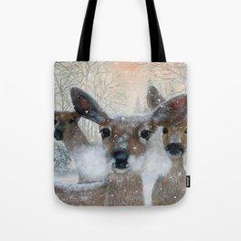 Deer in the Snowy Woods Tote Bag