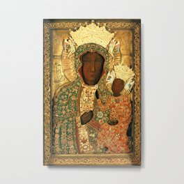 Virgin Mary Our Lady of Czestochowa Black Madonna and Child Jesus religious art Poland Metal Print
