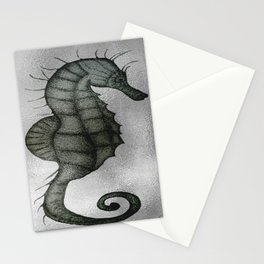 Silver Seahorse drawing Stationery Cards