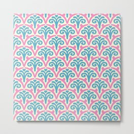 Floral Scallop Pattern Pink and Turquoise Metal Print