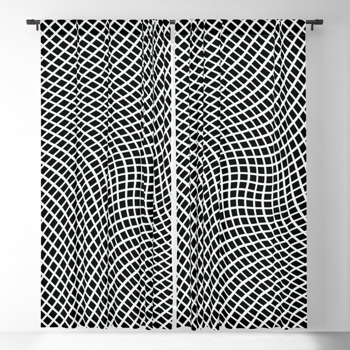 46e908d5c65 Black And White Mesh Twist Blackout Curtain by ruthpalmerfineart