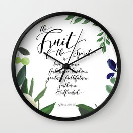 Fruit of the Spirit, navy, ivory, green floral palette Wall Clock