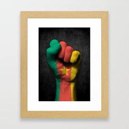 Cameroon Flag on a Raised Clenched Fist Framed Art Print