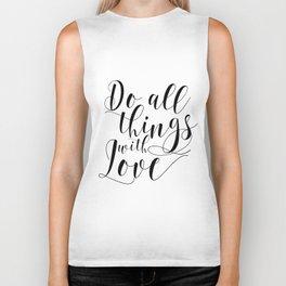 PRINTABLE ART, Do all things with love print, Motivational printable poster,Wall art Biker Tank