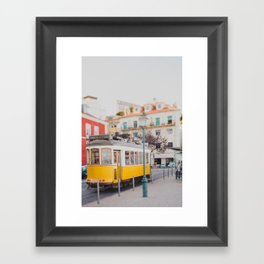 Yellow Tram in Lisbon Framed Art Print