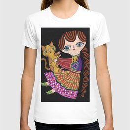 girl with cat in black T-shirt