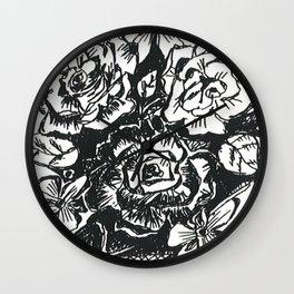 B&W Roses by Christiane Wall Clock