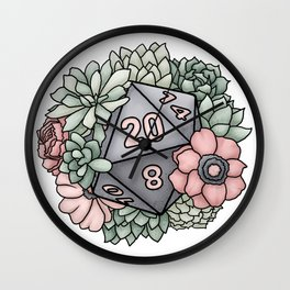Succulent D20 Tabletop RPG Gaming Dice Wall Clock