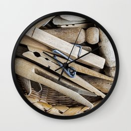 Wooden Clothespins 1 Wall Clock