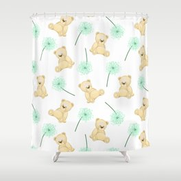 Pattern with cute bears and dandelions. Children's cards and textiles Shower Curtain